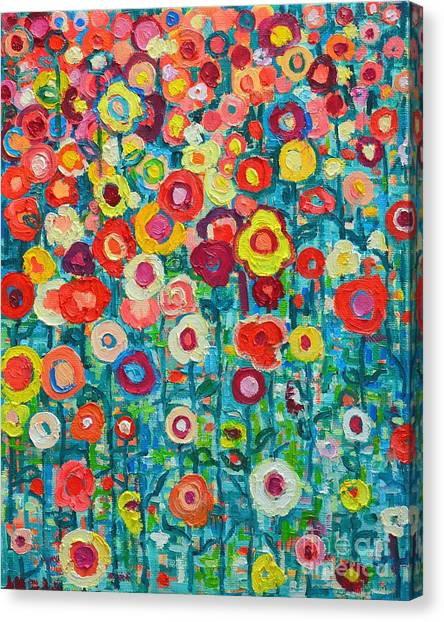 Daisy Canvas Print - Abstract Garden Of Happiness by Ana Maria Edulescu