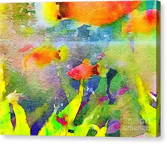 Abstract Goldfish Fish Bowl Aquarium Watercolor 1 Canvas Print