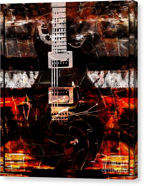 Abstract Guitar Into Metal Canvas Print