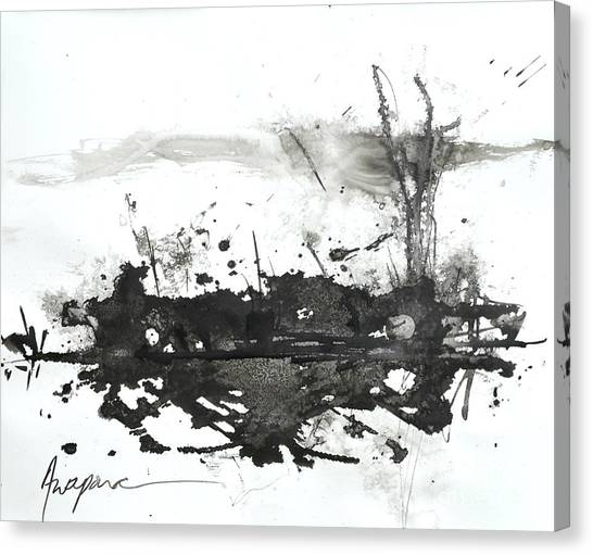 Modern Abstract Black Ink Art Canvas Print