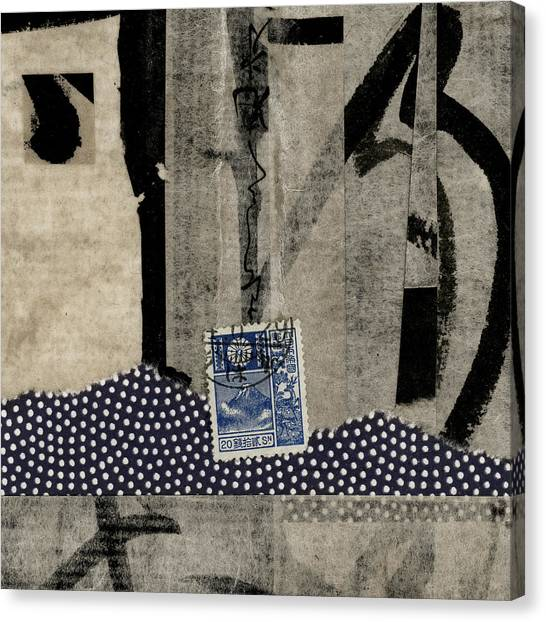 Mount Fuji Canvas Print - Abstract Japanese Collage by Carol Leigh