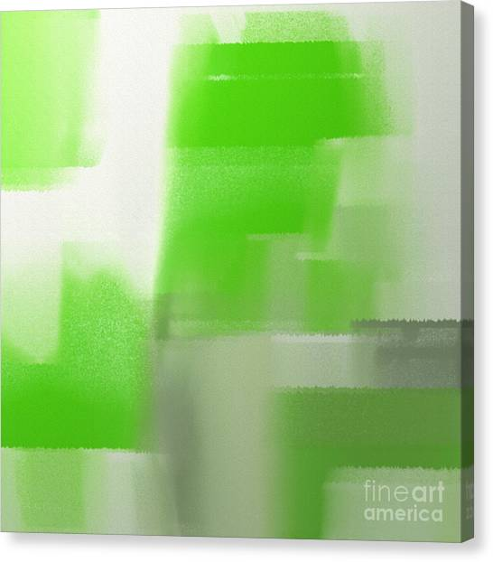 Andee Design White Canvas Print - Abstract Keylime Green Square by Andee Design