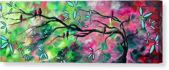 Canvas Print - Abstract Landscape Bird And Blossoms Original Painting Birds Delight By Madart by Megan Duncanson