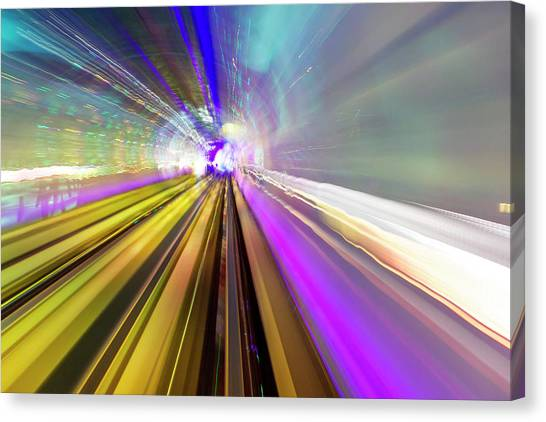 Bund Canvas Print - Abstract Light Trails Of Underground by William Perry