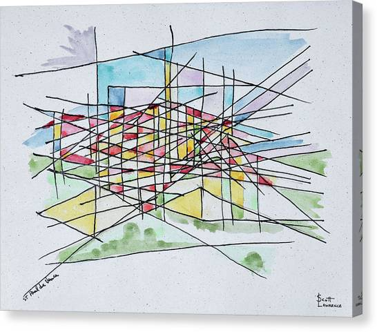 Scotty Canvas Print - Abstract Line Drawing Of Saint Paul De by Richard Lawrence