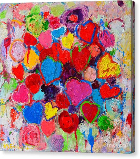 Abstract Love Bouquet Of Colorful Hearts And Flowers Canvas Print