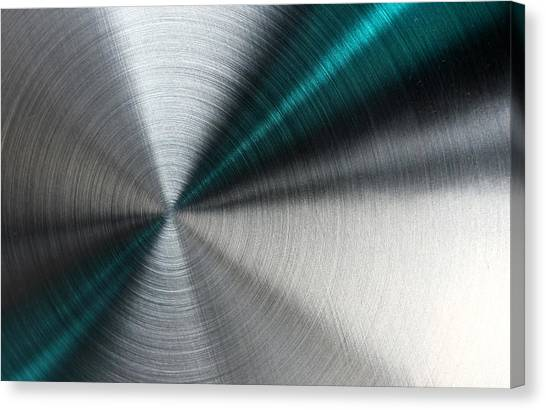 Abstract Metallic Texture With Blue Rays. Canvas Print