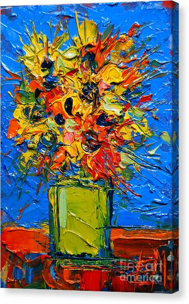 Fauvism Canvas Print - Abstract Miniature Bouquet by Mona Edulesco