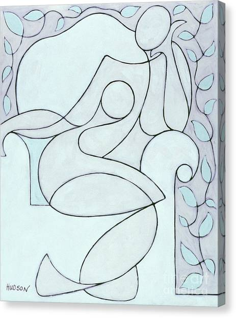 abstract modern art - Nude with Lines and Vines Canvas Print