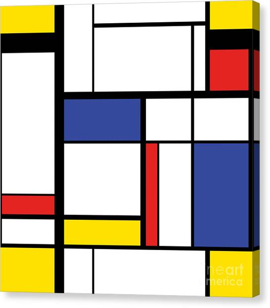 Abstract Modern Painting In Mondrian Canvas Print by Lars Poyansky