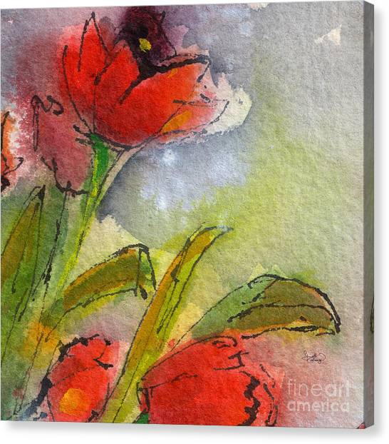 Abstract Modern Red Tulips Watercolor Canvas Print