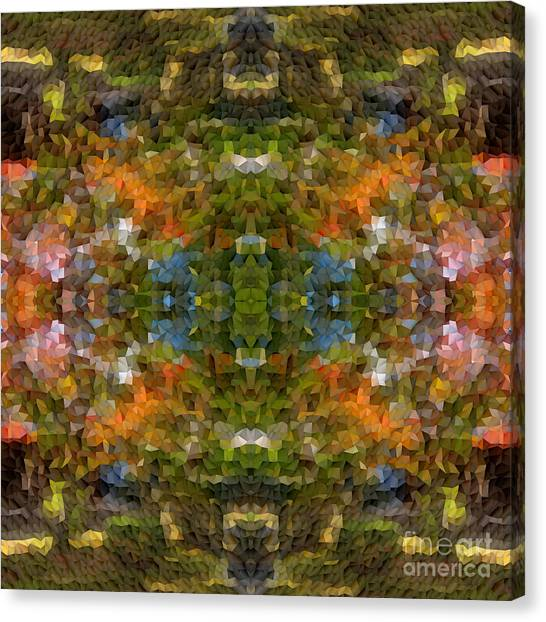 Abstract Mosaic In Green Blue Orange Canvas Print
