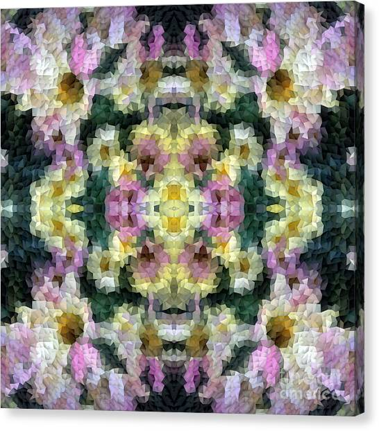 Abstract Mosaic In Yellow Pink Green Canvas Print