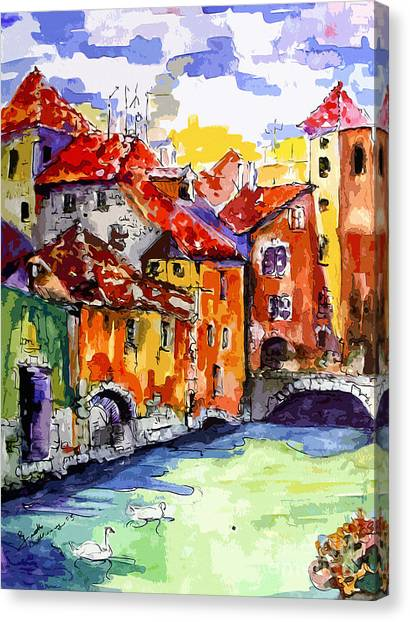 Abstract Old Houses In Annecy France Canvas Print
