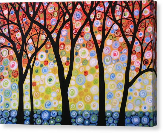 Abstract Original Modern Trees Landscape Print Painting ... Joyous Sky Canvas Print