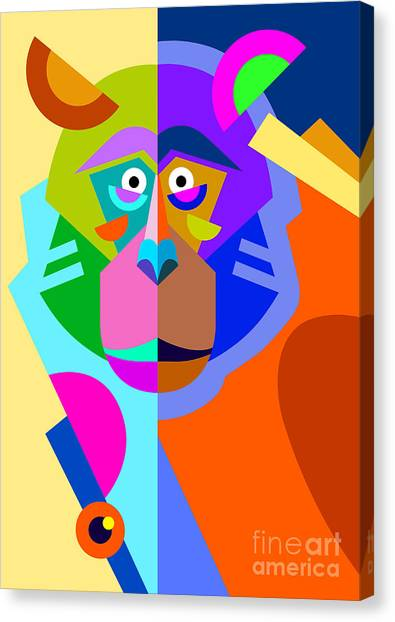 Primates Canvas Print - Abstract Original Monkey Drawing In by Karakotsya