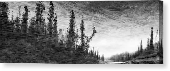 Using The River Canvas Print - Abstract Painterly Stlye, Reflection by Ron Harris