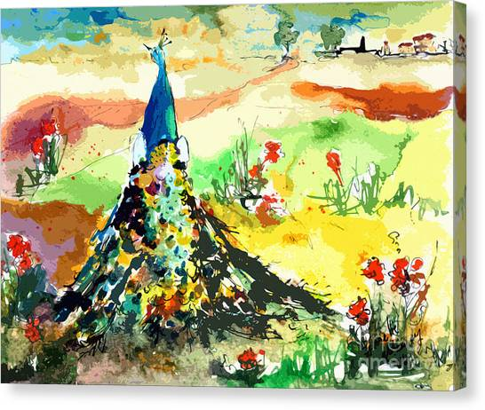 Abstract Peacock Summer Landscape Canvas Print