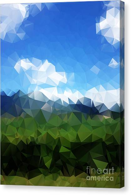 Connection Canvas Print - Abstract Polygonal Landscape Background by Daria Iva
