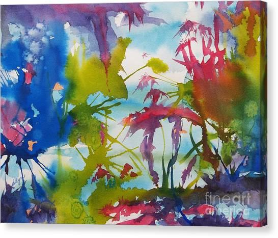 Splashy Art Canvas Print - Abstract -  Primordial Life by Ellen Levinson