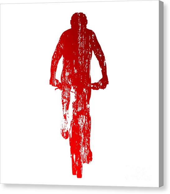 Exercising Canvas Print - Abstract Red Mountain Biking by Michal Sanca