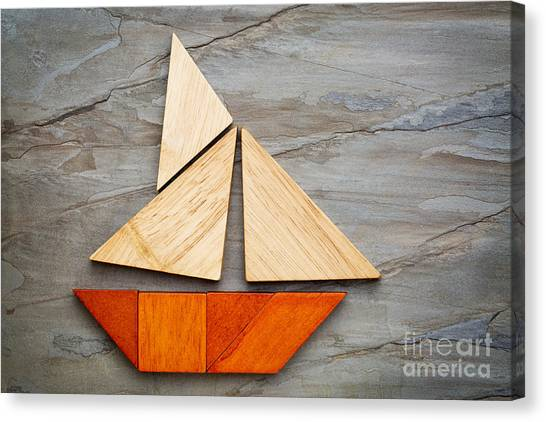 Abstract Sailboat From Tangram Puzzle Canvas Print
