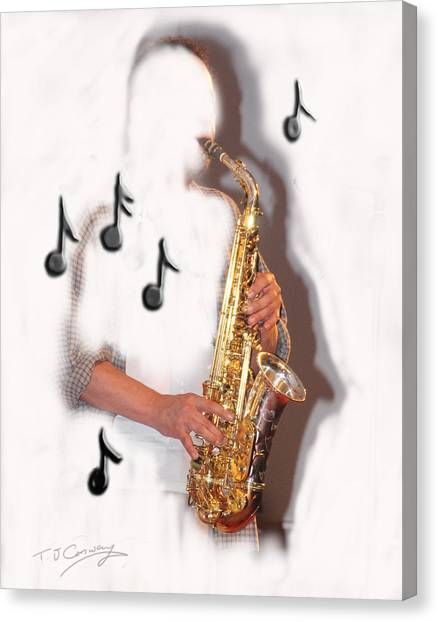 Abstract Saxophone Player Canvas Print
