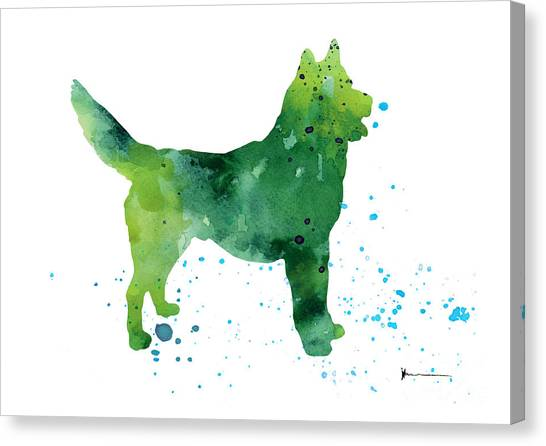 Huskies Canvas Print - Abstract Siberian Husky Watercolor Art Print Painting by Joanna Szmerdt
