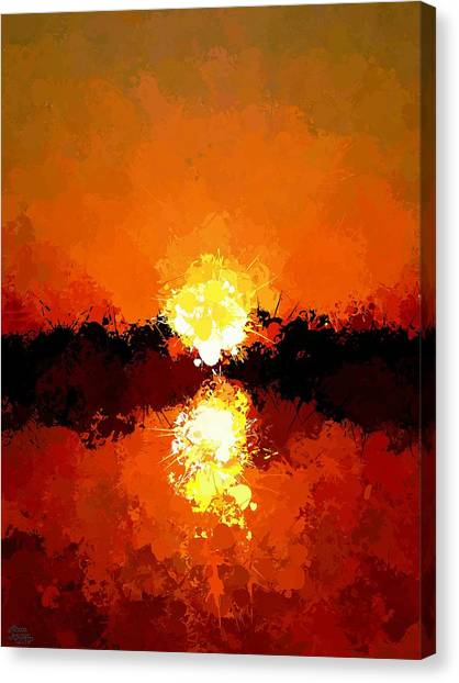 Abstract Sunset On The Sea Canvas Print