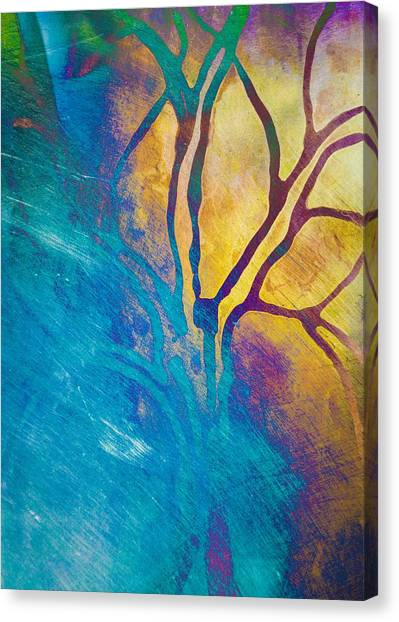 Canvas Print featuring the mixed media Fire And Ice Abstract Tree Art  by Priya Ghose