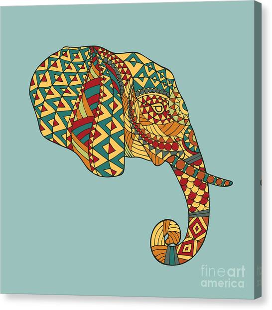Background Canvas Print - Abstract Vector Image Of An Elephants by Yuriy2012