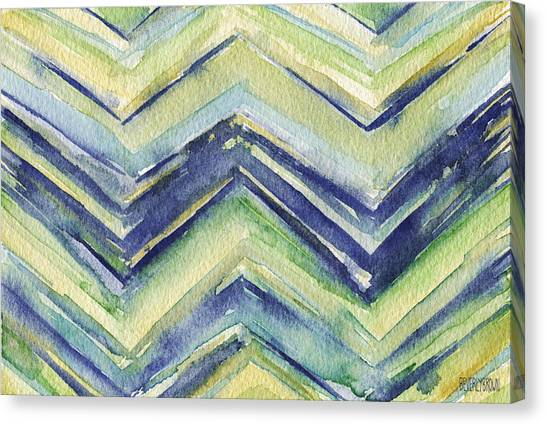 Laundry Canvas Print - Abstract Watercolor Painting - Blue Yellow Green Chevron Pattern by Beverly Brown Prints