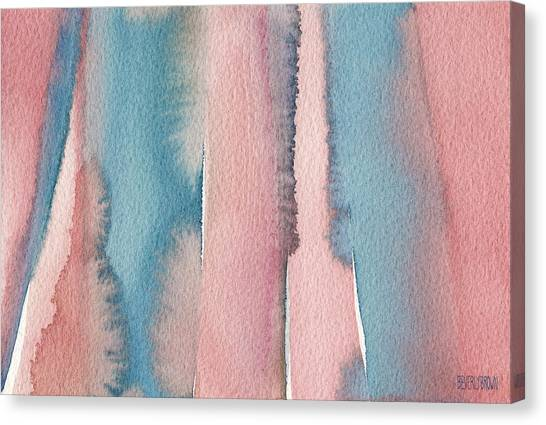 Laundry Canvas Print - Abstract Watercolor Painting - Coral And Teal Blue Wide Stripes by Beverly Brown Prints
