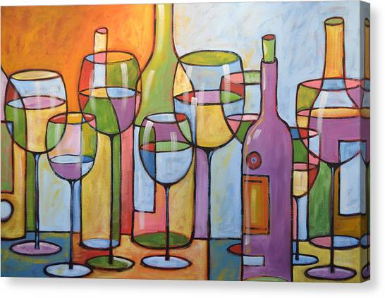 Wine Country Canvas Print - Abstract Wine Dining Room Bar Kitchen Art ... Time To Relax by Amy Giacomelli