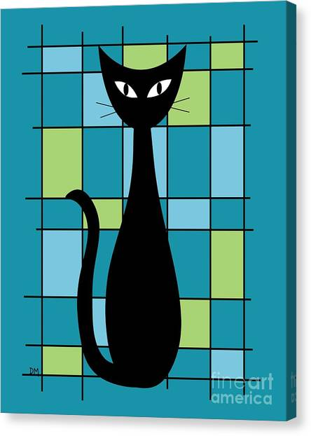 Abstract With Cat In Teal Canvas Print