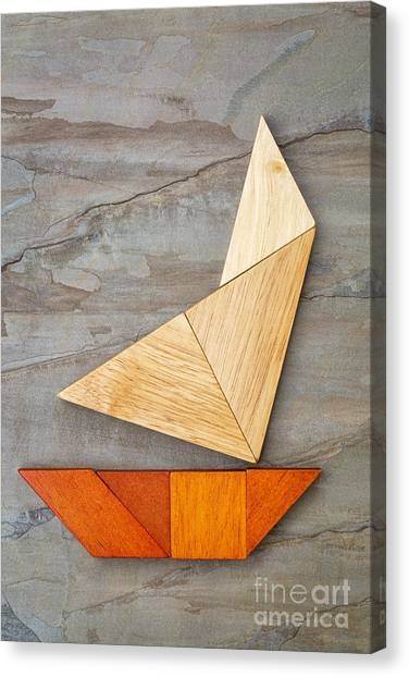 Abstract Yacht From Tangram Puzzle Canvas Print
