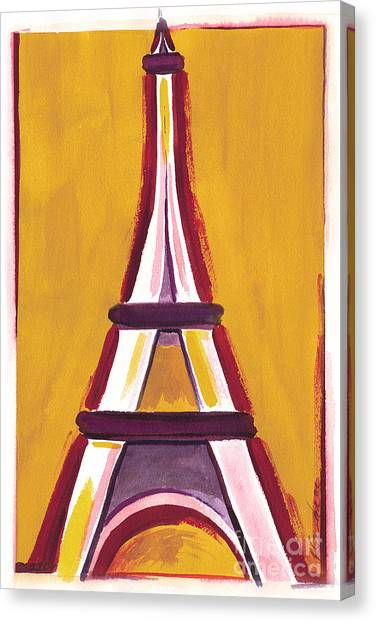 Abstract Yellow Red Eiffel Tower Canvas Print