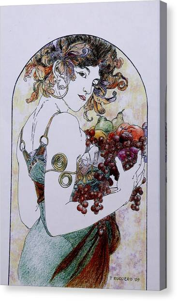 Abundance After Mucha Canvas Print