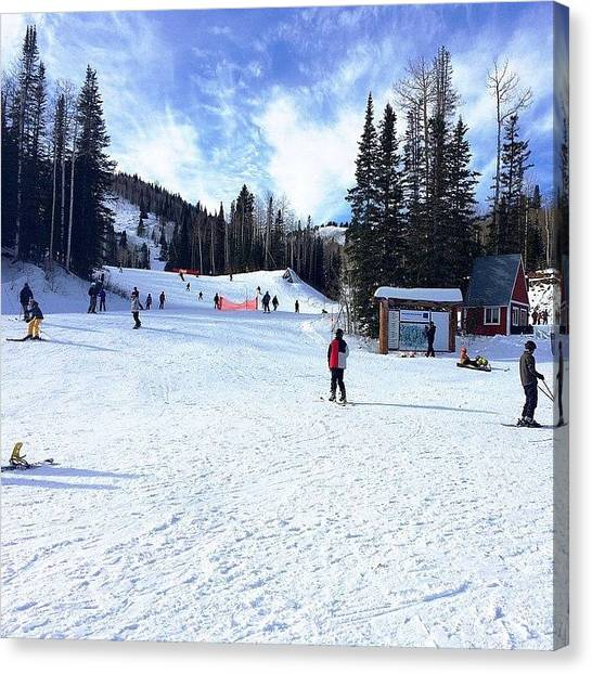 Snowboarding Canvas Print - Abundant Room To Glide Down The Slopes by Tamara Mendoza