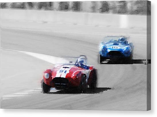 Cobras Canvas Print - Ac Cobra Racing Monterey Watercolor by Naxart Studio
