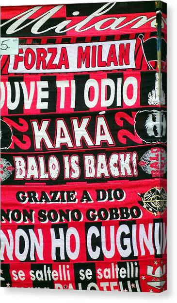 Ac Milan Canvas Print - Ac Milan Fans Scarves  by Valentino Visentini