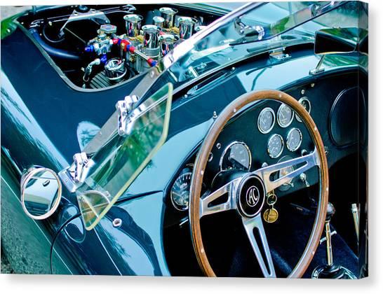 Cobras Canvas Print - Ac Shelby Cobra Engine - Steering Wheel by Jill Reger