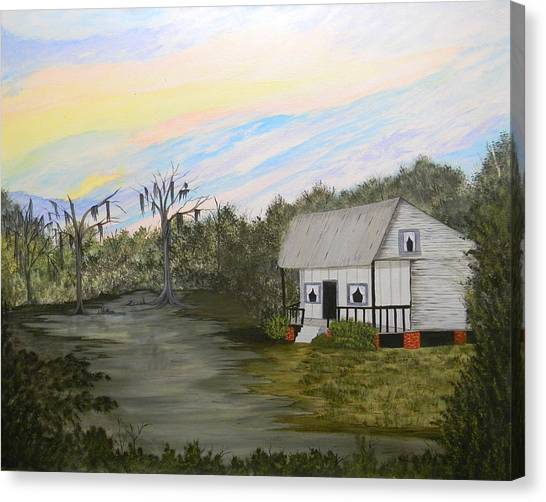 Acadian Home On The Bayou Canvas Print