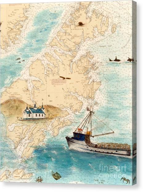 Accomplice Canvas Print - Accomplice Kodiak Crab Fishing Boat Cathy Peek Nautical Chart Map  by Cathy Peek