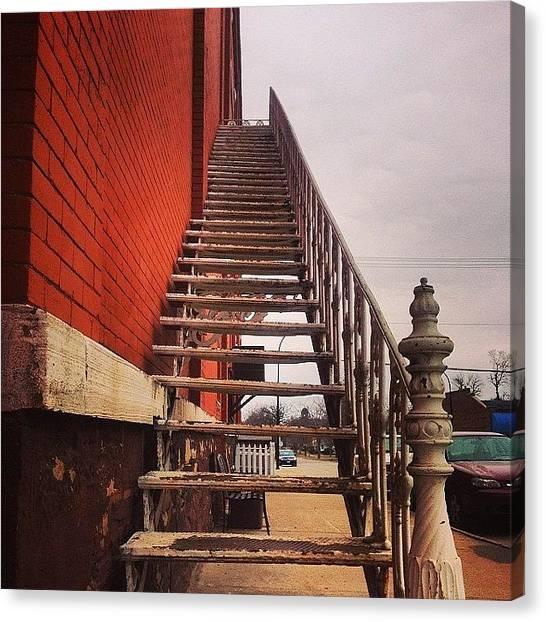 Iowa Canvas Print - Vintage Stairs by Zach Steele