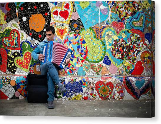 Accordion Player Canvas Print by Pedro Nunez