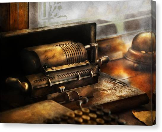 Taxes Canvas Print - Accountant - The Adding Machine by Mike Savad