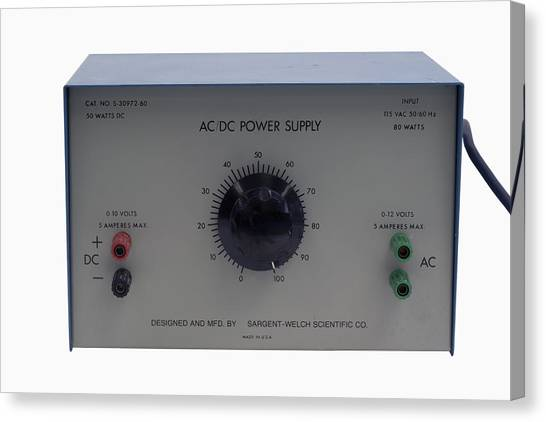 Ac Dc Canvas Print - Acdc Variable Power Supply Unit by Science Stock Photography