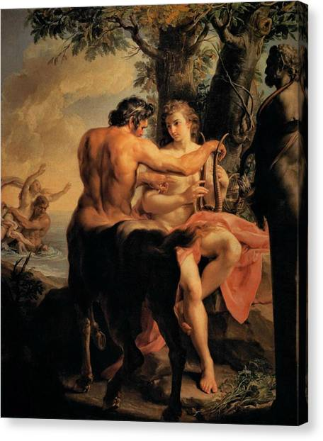 The Uffizi Gallery Canvas Print - Achilles And The Centaur Chiron by Pompeo Batoni