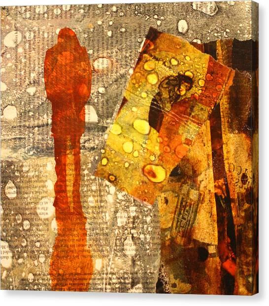 Torn Paper Collage Canvas Print - Acid Rain by Nancy Merkle